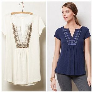 Anthropologie Meadow Rue Castello Tunic in White